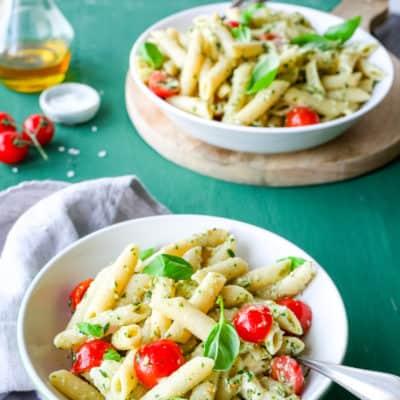 Schnell, schneller, Nudelsalat mit Pesto