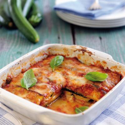 Vegetarische Zucchini-Lasagne à la Tomate-Mozzarella