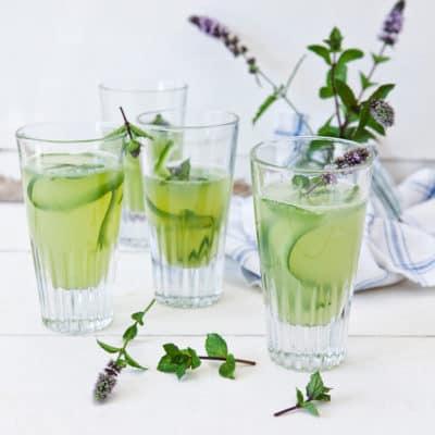 Spritzige Gurkenlimo mit Zitrone und Minze