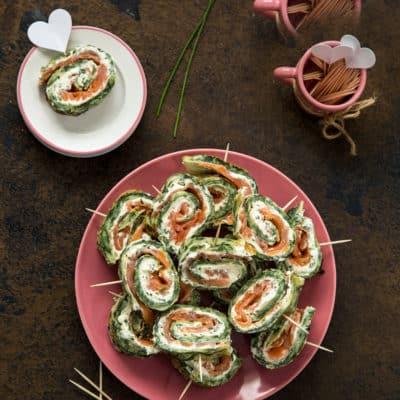 Lachs-Spinat-Rolle mit Frischkäsecreme