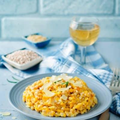 Veganes Kürbisrisotto mit Apfelsaft und Ahornsirup